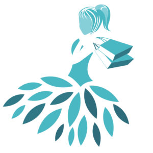 Threadcessories logo teal blue girl in dress with shopping bags