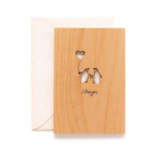 Wooden Laser Cut Penguin Valentine's Day Card