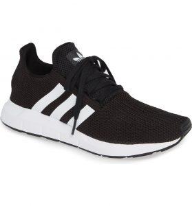 Adidas Swift Run Black Sneaker with White Stripes
