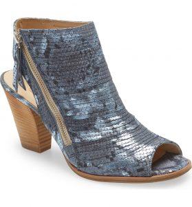 Paul Green Cayenne Peep Toe Bootie Blue Snake Skin with Wood Heel