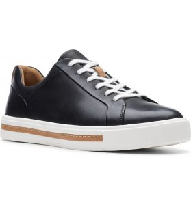 Clark's Un Maui Leather Sneaker Lace Up Black with Tan stripe on sole