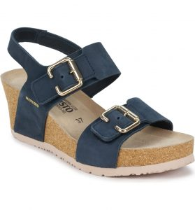 Mephisto Lissandra Navy Wedge Comfort heel with front and side buckle