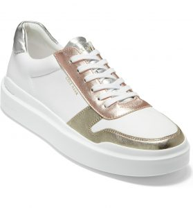 Cole Haan GrandPro Rally Sneaker White with rose and gold metallic accents