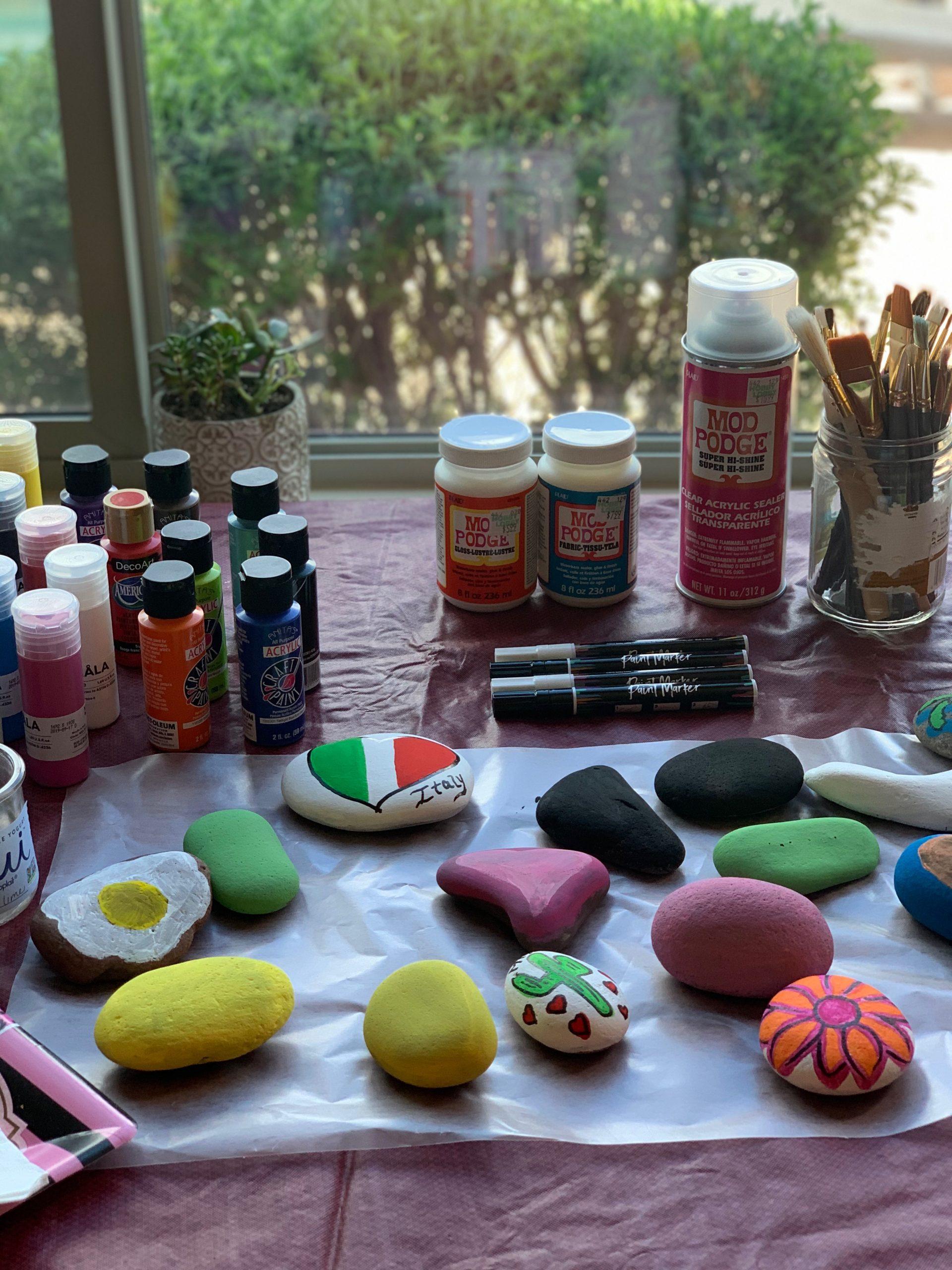Rock Painting Station Paints Rocks Brushes, Sealer, Brushes