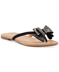 Flip flop with black straps and crystal studded bow