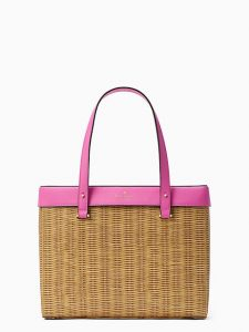 Weave and Pink Picnic Bag