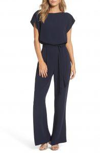 Navy Cap Sleeve Jumpsuit