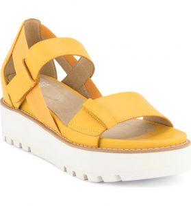Eileen Fischer Luck Platform Sandal Yellow Adjustable Strap