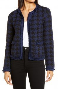 Halogen Mari Houndstooth Knit Jacket Navy