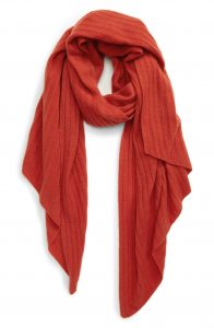 Rust Cashmere Ribbed Scarf