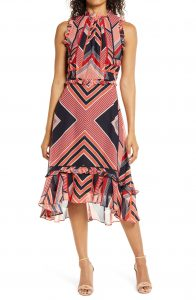 Julia Jordan Mod Stripe Ruffle Trim Midi Dress