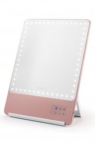 RIKI Skinny Lighted Mirror with LED lights all around and rose gold color