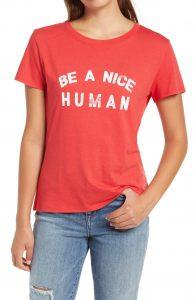 Be a nice human red tee