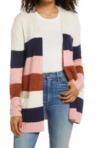 caslon striped open front cardigan