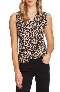 vince camputo leopard v-neck blouse
